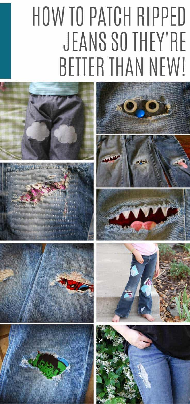 Oh my goodness if you want to know how to patch ripped jeans check out these ideas for kids and adults! So CUTE!