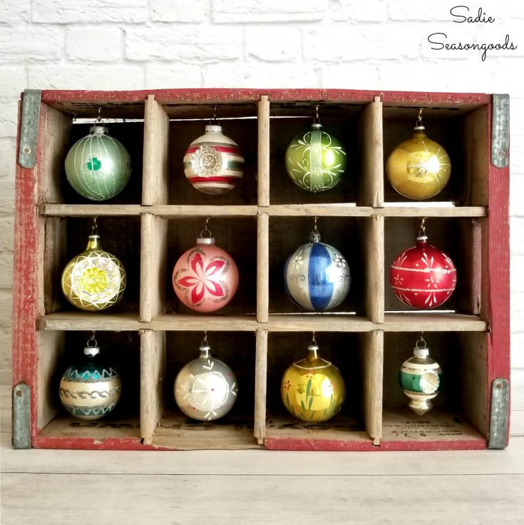 Christmas Ornament Stand in a Vintage Wooden Crate
