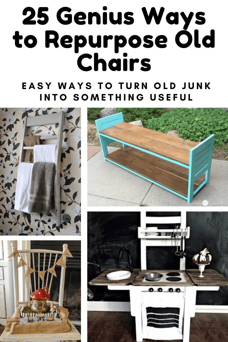 Don't throw out those old chairs! Not until you've seen this list of cool things you can repurpose them into anyway! #diy #repurpose #thrift #fleamarket #upcycle #furniture