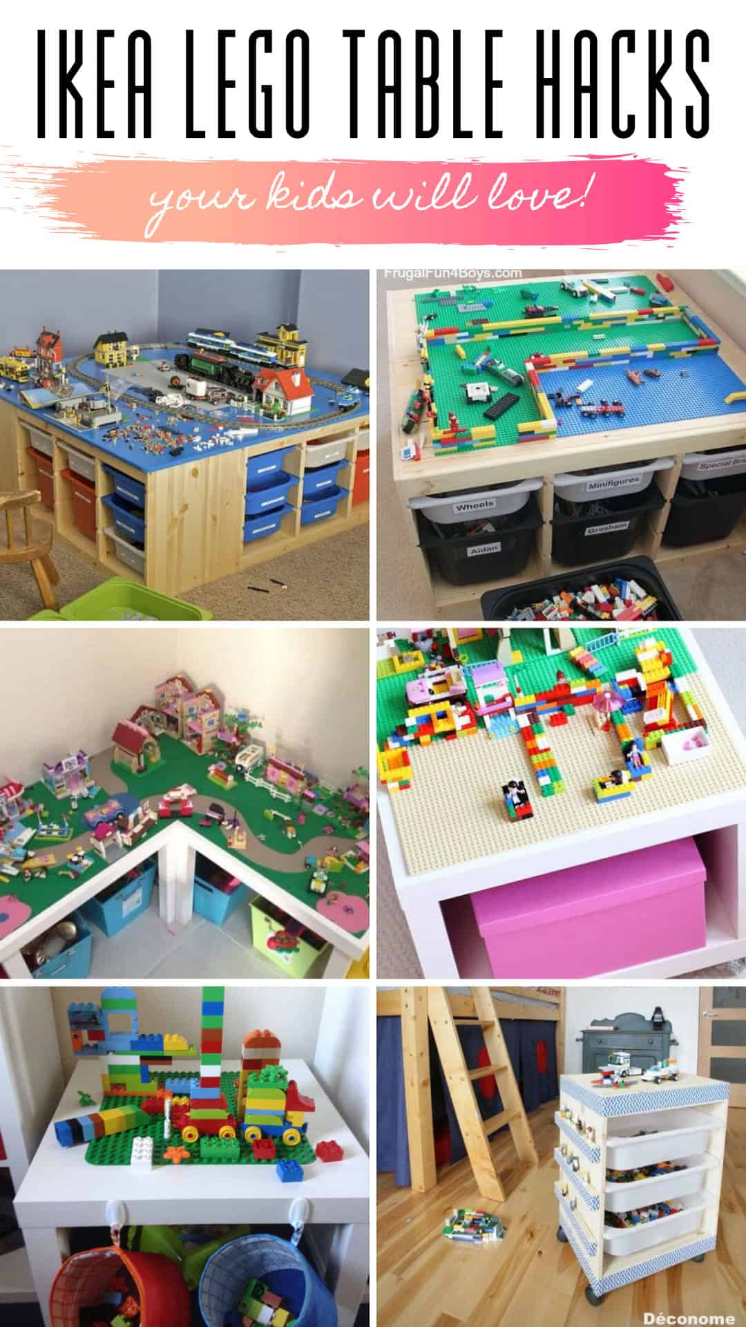 These IKEA LEGO table hacks for kids are insanely useful and so easy to make! #LEGO #IKEA
