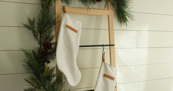 Simple Linen & Leather Christmas Stocking