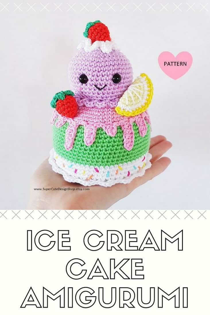 Ice Cream Cake - PDF Pattern, crochet, amigurumi