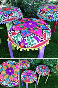 Loving this IKEA Frosta stool hack - especially those pompoms!