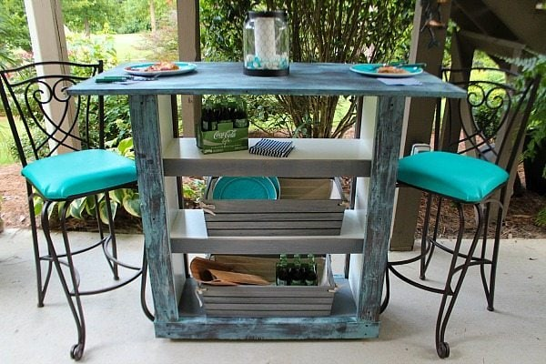 Ikea Hack from Bookcase to Bar Table