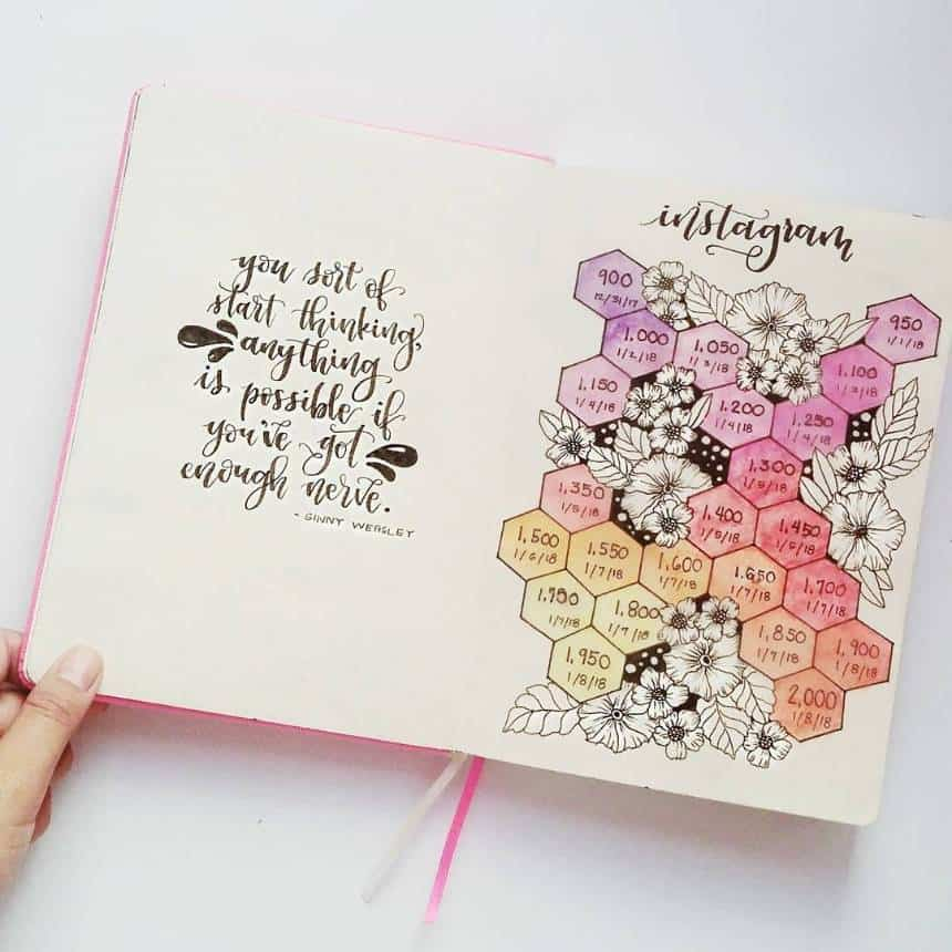 Bullet Journal Instagram Tracker Hexagonals
