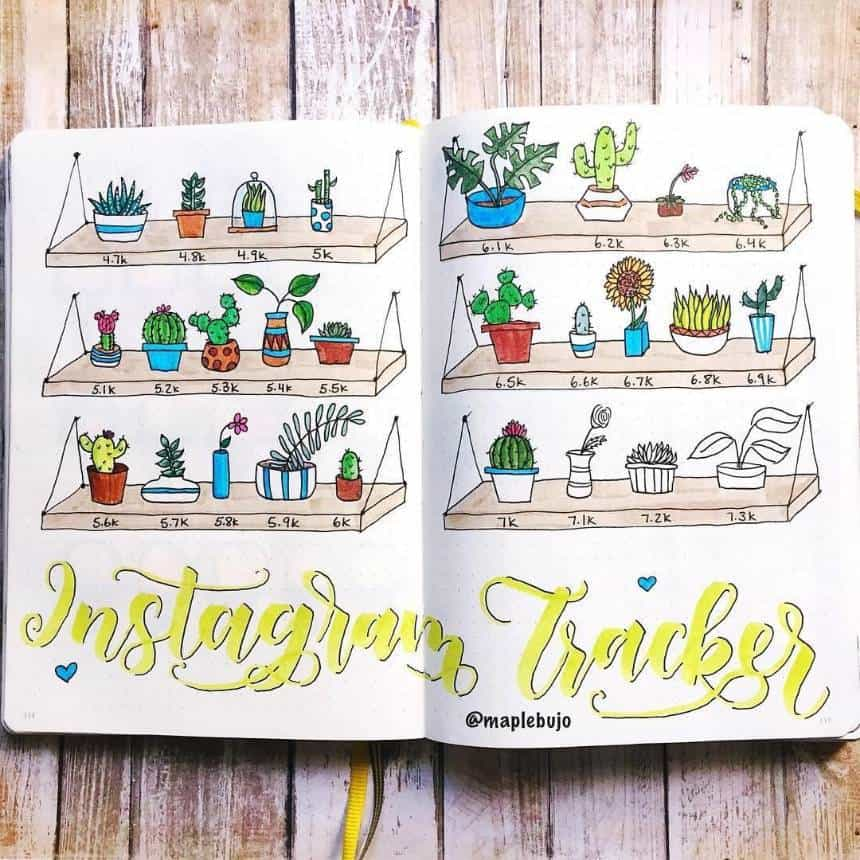 Bullet Journal Instagram Tracker Planters