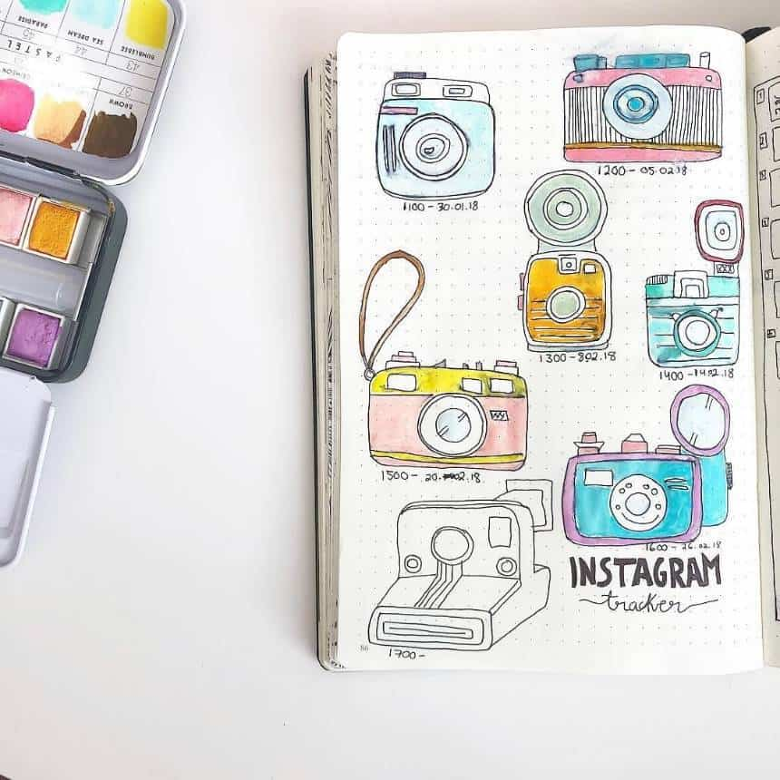 Bullet Journal Instagram Tracking Camera Theme