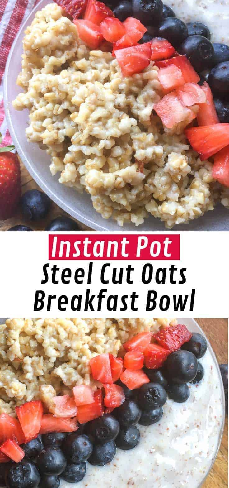 If you're looking for a low sugar, gluten-free breakfast to get everyone's day off to a great start you cannot go wrong with these Instant Pot Steel Cut Oats Breakfast Bowls
