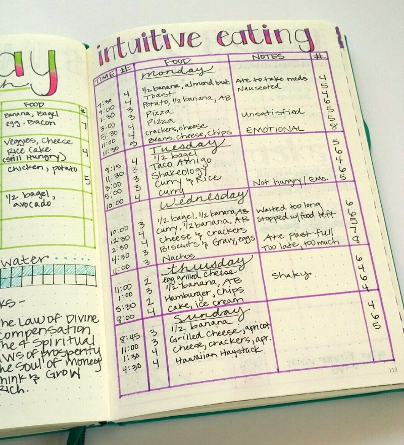 Bullet Journal Intuitive Eating
