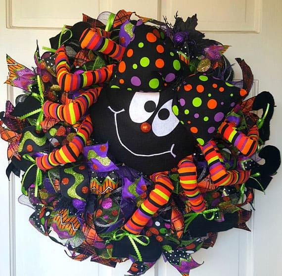Itsy Bitsy Spider Deco Mesh Halloween Wreath