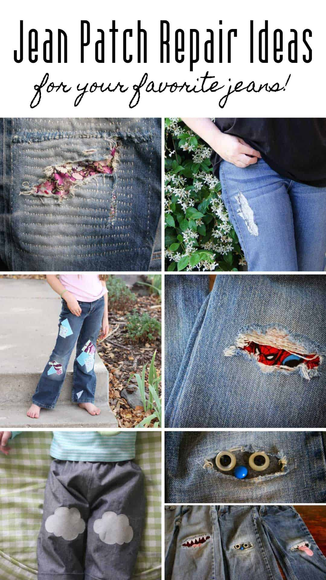 LOVING these jean patch repair ideas! They are ways to patch up kids and adult jeans and they look great!