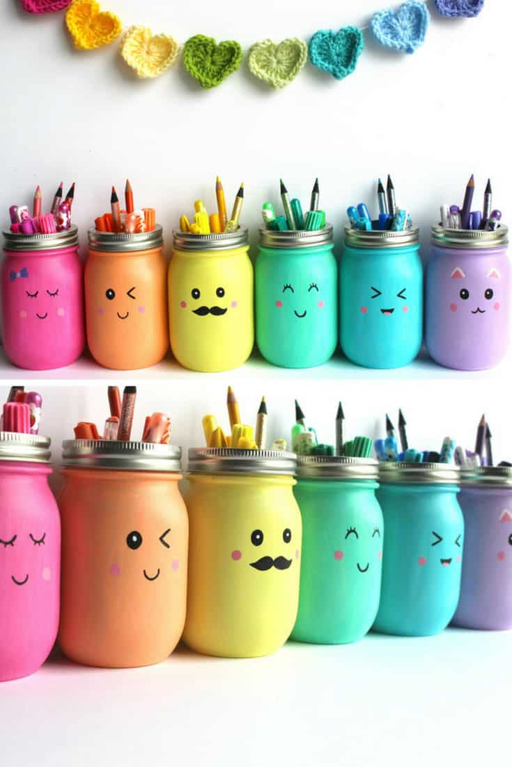 Kawaii Inspired DIY Mason Jar Pen Holders