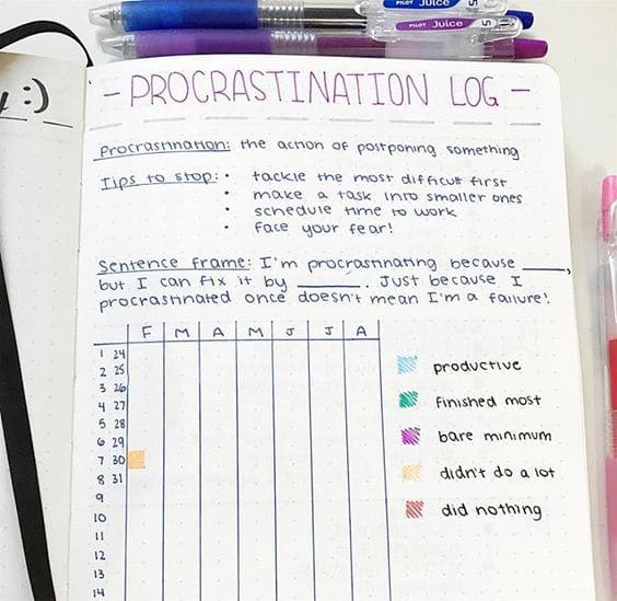 Keep a procrastination log