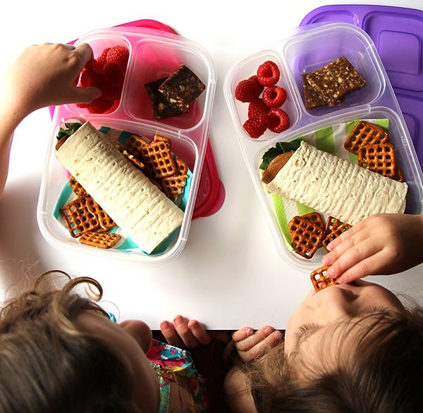 These lunch boxes have three compartments which is great for keeping foods separate - and reduce sogginess!