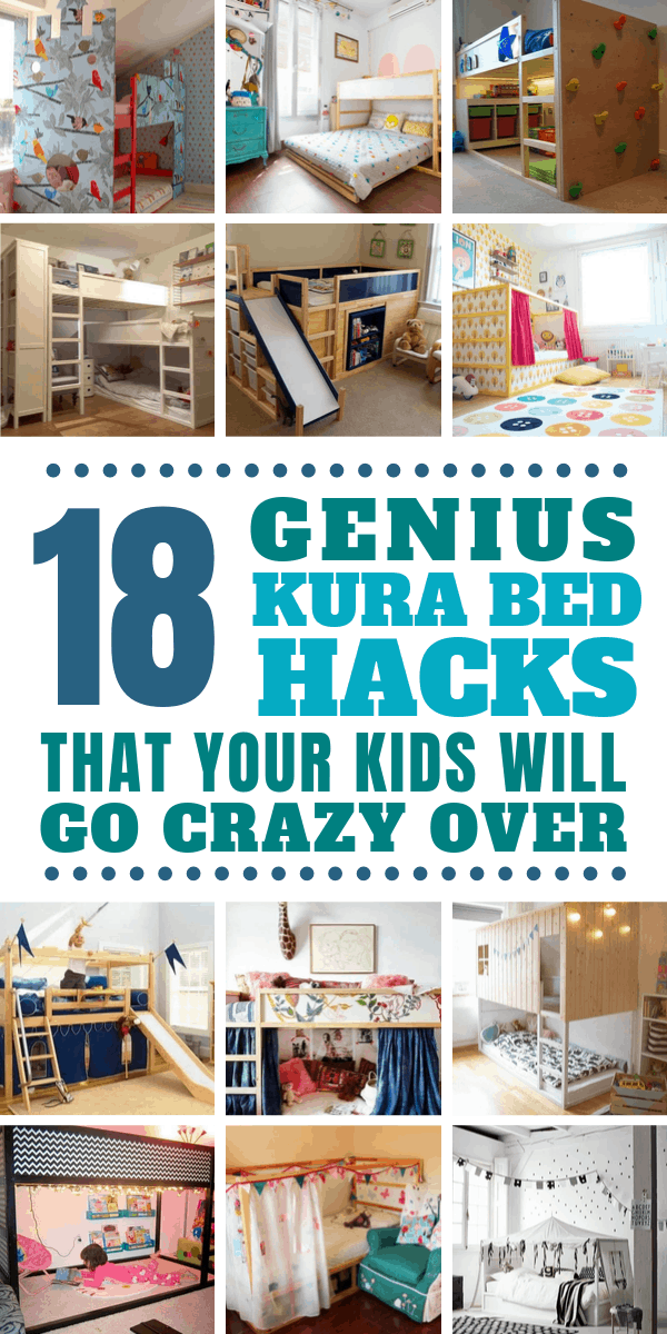 The Ikea Kura bed is super cheap but oh so boring - take a look at these Kura Bed Hack makeovers to make something your kids will LOVE to have in their bedroom!