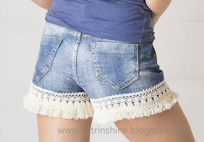 Lace Ribbon Denim Shorts