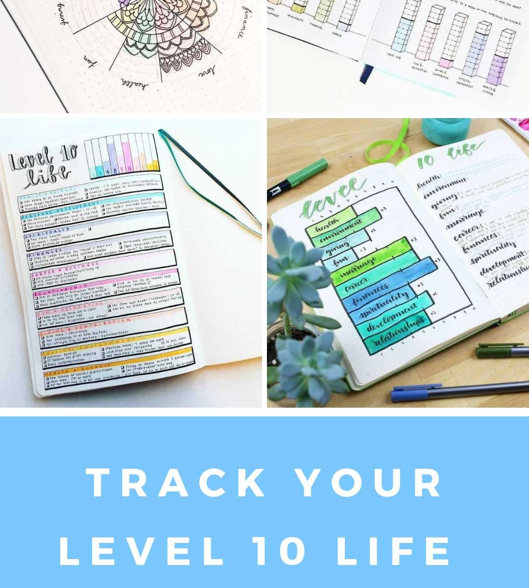 If you're ready to work towards you're level 10 life you totally need one of these bullet journal trackers to help monitor your progress! #bulletjournal #level10life