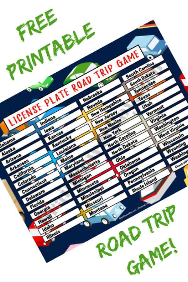 Entertain your kids on your next road trip with this free license plate game you can print out and play! #roadtrip