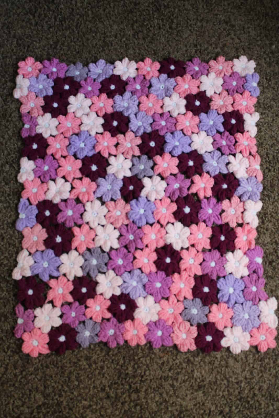 Lilac Purple Baby Blanket Flowers