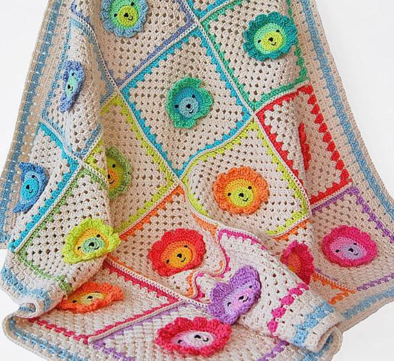 Lion Granny Square Blanket
