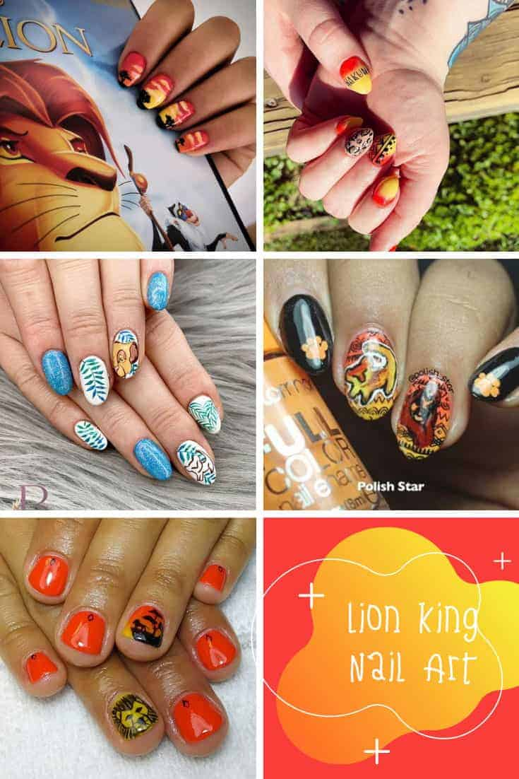 These Lion King nail art ideas are AMAZING! #lionking #disney #nailart