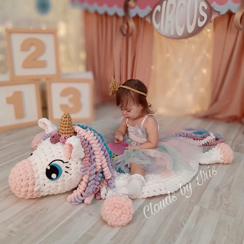 This unicorn rug will be a firm friend for your little girl - it's an arm crochet project you need to try!