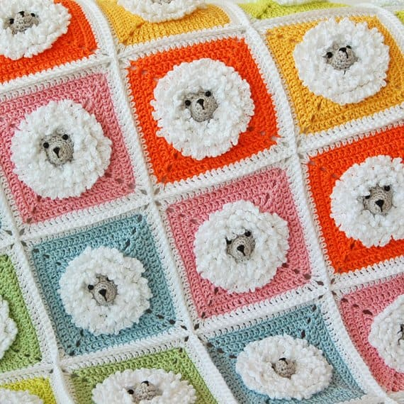 Little Sheep Granny Square Blanket Pattern