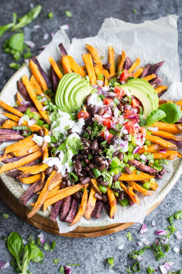 Mexican Style Loaded Baked Sweet Potato Fries with Vegan Aioli | Friday Night Snack | Appetizer