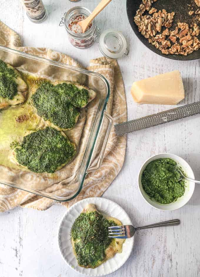 Low Carb Pesto Tilapia Dinner