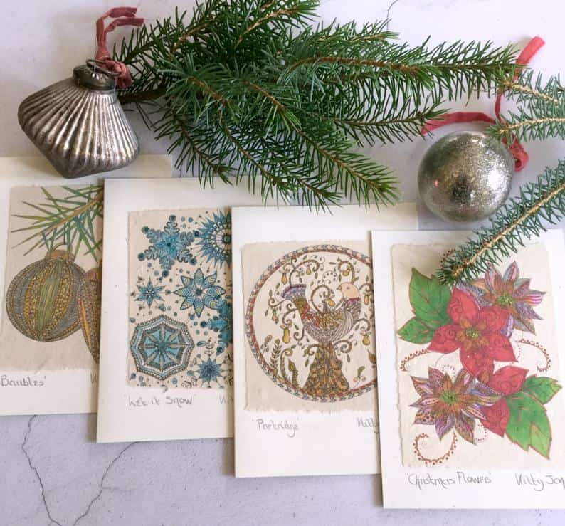 Box of Luxury Handmade Christmas Cards