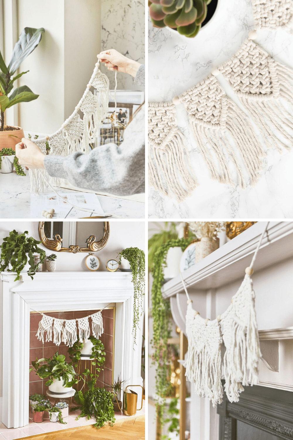 This DIY boho macrame garland will look fabulous over your fireplace