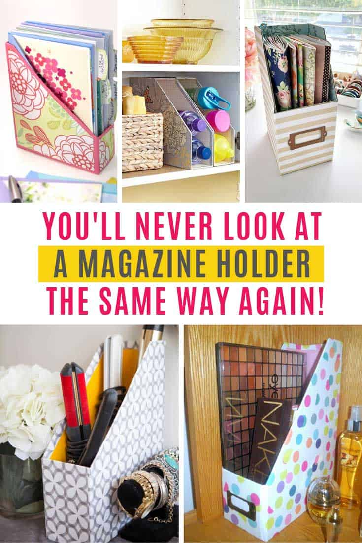 So many fabulous magazine holder storage ideas! I bet you have a magazine holder or two on a bookshelf somewhere in your home filled with magazines, or papers. But did you know that you can use that simple magazine holder to help you organize a ton of other things?
