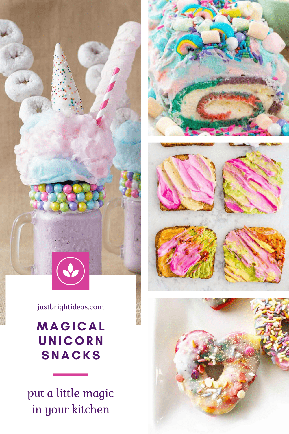 We are totally in love with these unicorn snacks! You could eat magical snacks all day from breakfast toast to freakshakes!