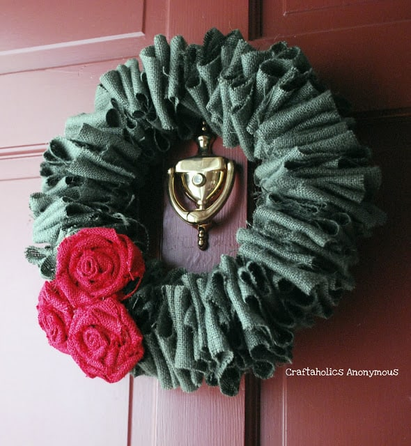 Make Burlap Wreath Christmas 2