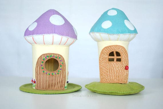 Make your own felt toadstool fairy house