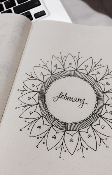 Mandala Heart Bullet Journal Cover Page