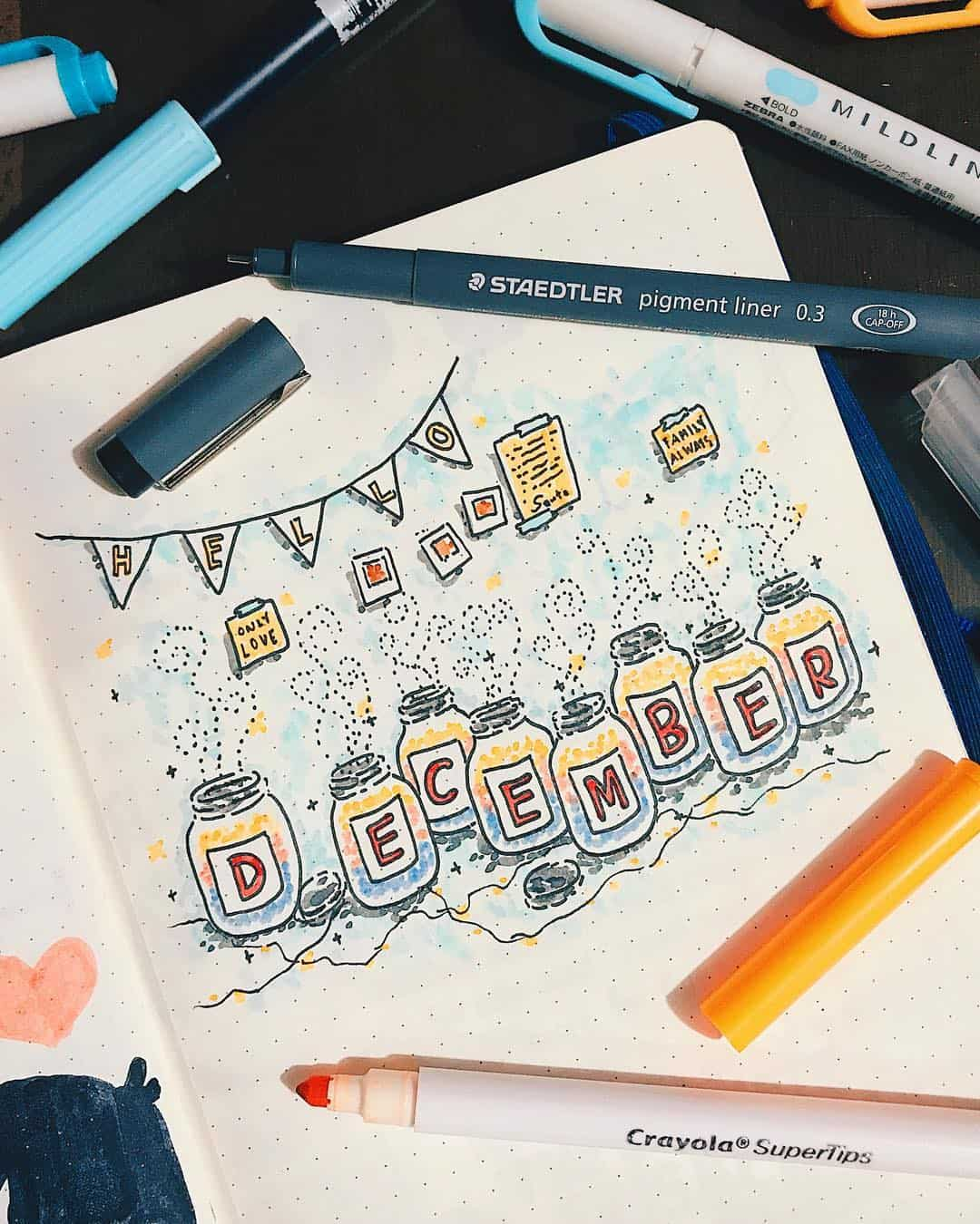 Mason Jar December Cover Page for your Bullet Journal