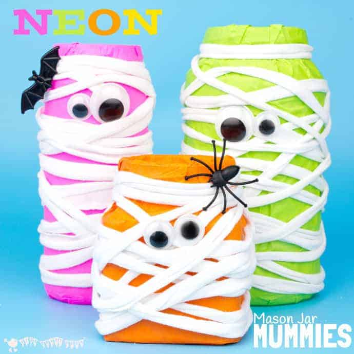 Mason Jar Mummies Neon