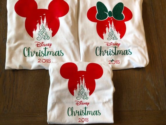 Matching Disney Mickey Minnie Head Christmas Shirts