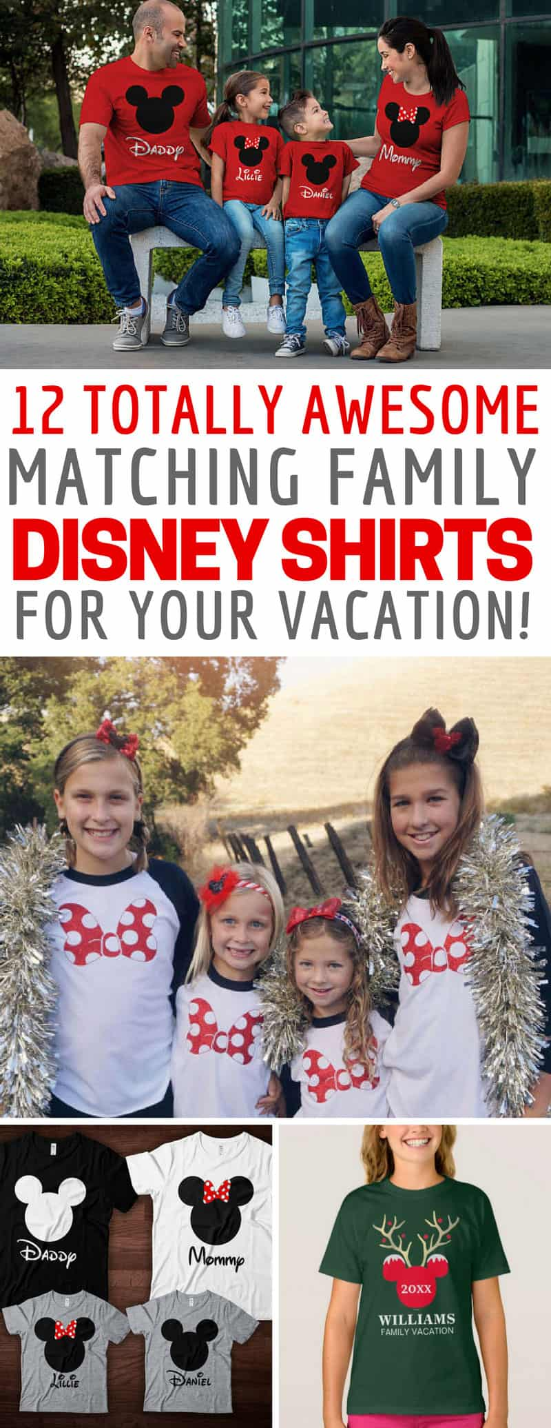 Matching Disney Shirts for the Whole Family: Celebrate your Disney vacation and stand out from the crowd with these matching Disney family shirt ideas! They're perfect for a family reunion!