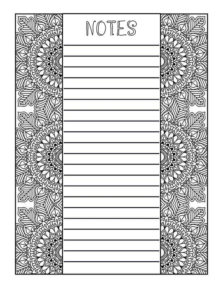 Mandala coloring notes page