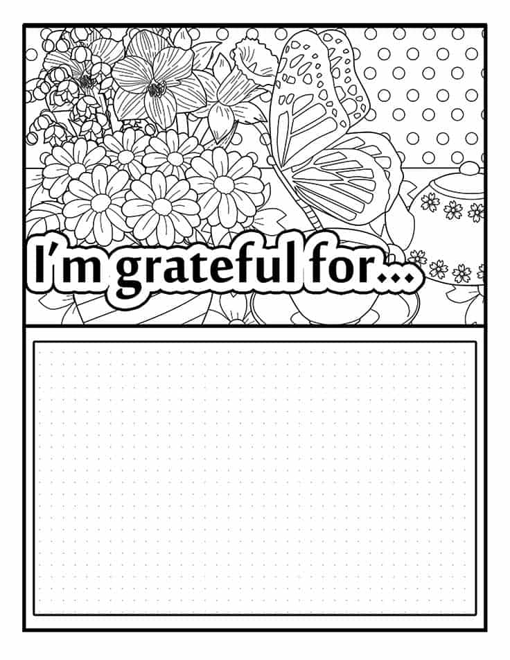 I'm grateful for gratitude coloring page