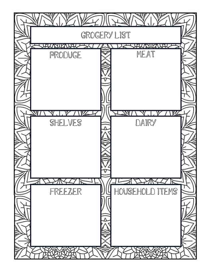 Coloring Printable Grocery List
