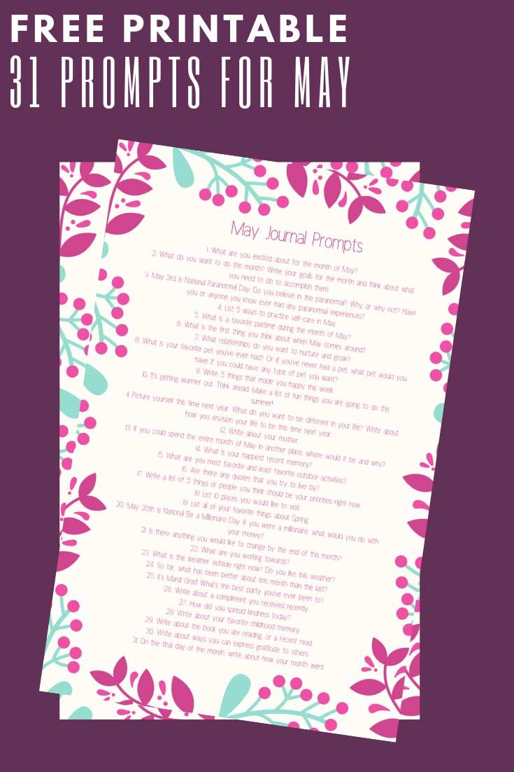 31 May Journal Prompts - Includes a Free Printable