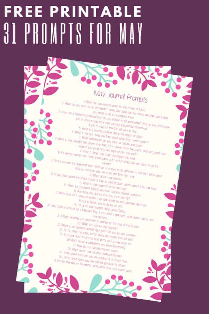 31 May Journal Prompts – Includes a Free Printable