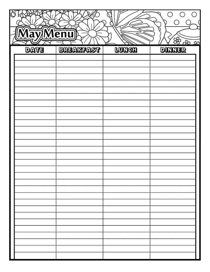May printable coloring menu planner