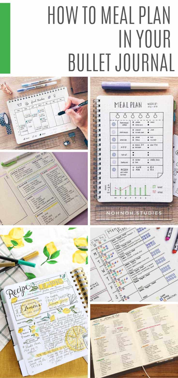 Find out how to meal plan in your bullet journal with these wonderful spreads and ideas, from your menu plan and grocery list to your family's favorite recipes. #bulletjournal #mealplan #mealprep