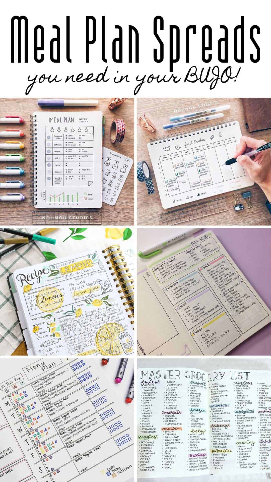 These meal planning bullet journal spreads and ideas are just what you need to plan next week's meal prep. From the menu and your go to recipes to your grocery list. #bulletjournal #mealprep #mealplanning
