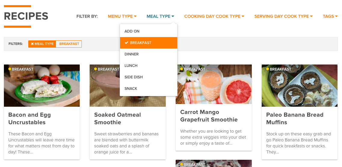 Select Your Recipe Type from the Dropdown Box
