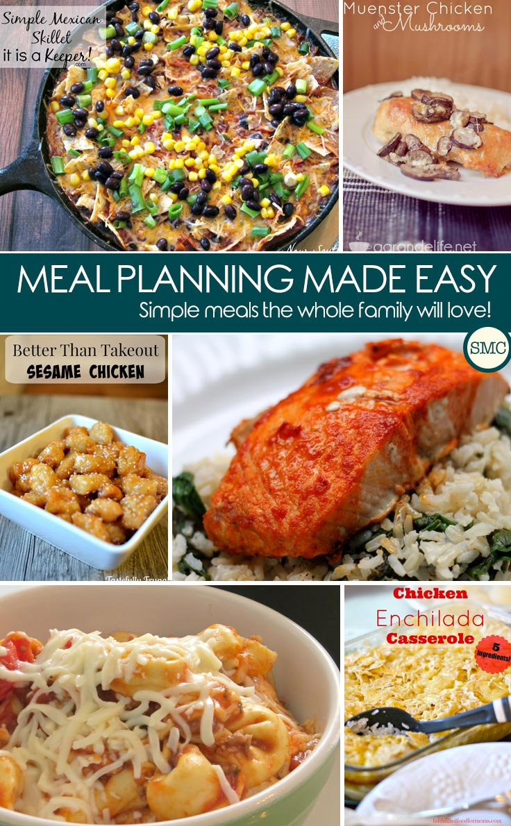 So many great recipes here for next week's meal plan. The salmon looks delicious and that baked tortellini casserole - yum! Click on the picture to see all of the recipes.